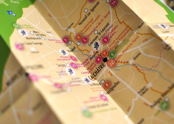 Création d'un plan touristique sur le Berry / Graphiste freelance Paris