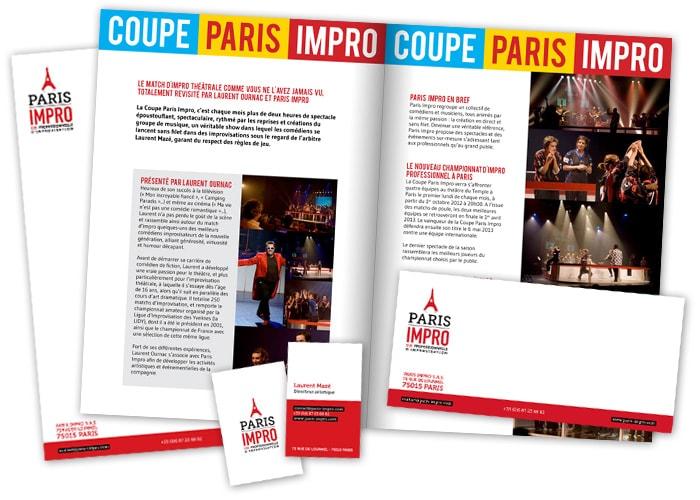 Dossier de presse, cartes de visite Paris Impro / Graphiste freelance Paris