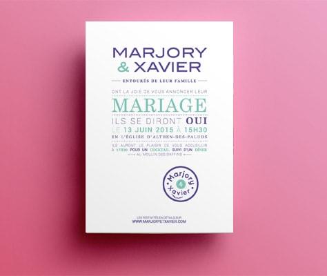 Création faire-part de mariage sur mesure / Graphiste freelance Paris 14