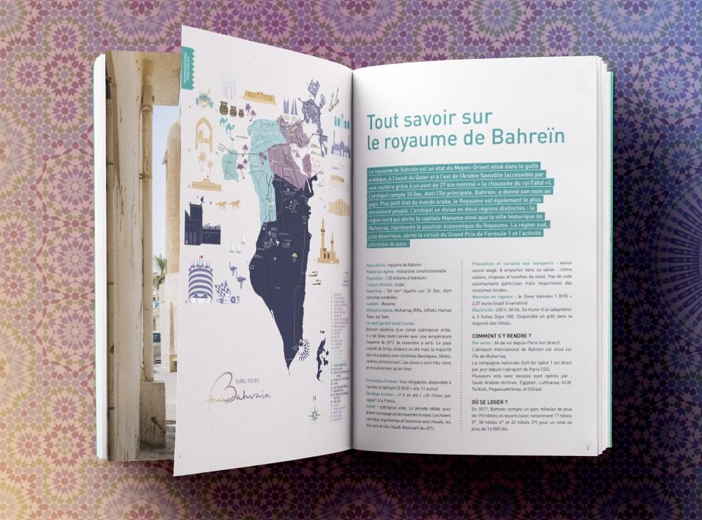 Création dossier de presse Bahrein / graphiste indépendante Paris