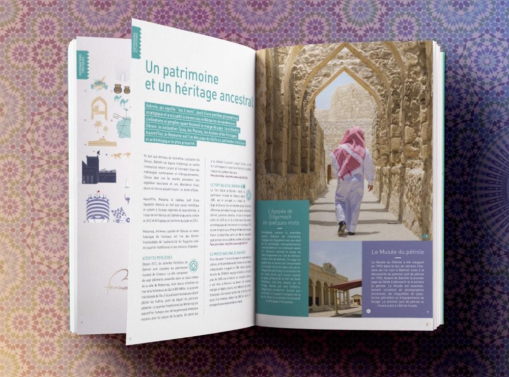 Création dossier de presse Bahrein / graphiste freelance Paris