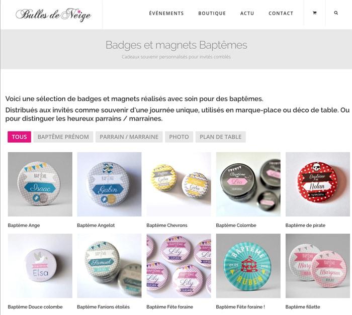 Création de site boutique créatrice Bulles de neige / Graphiste freelance Paris 14