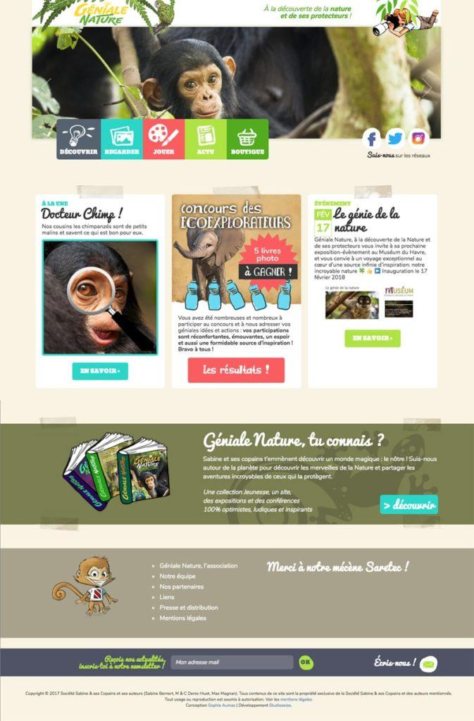 Création de site web Géniale Nature pour les enfants / Graphiste freelance Paris