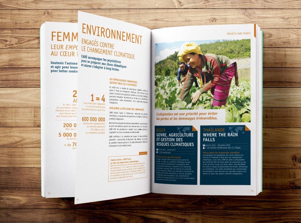 Création rapport annuel / ONG CARE France / Graphiste freelance Paris 14