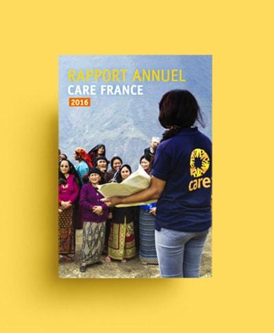 Création graphique rapport d'activités CARE France / Graphiste freelance Paris 14