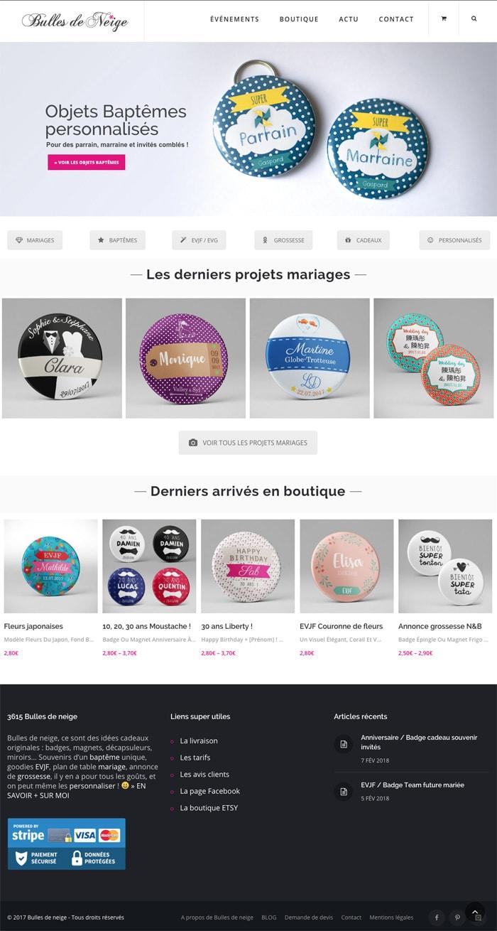 Création de boutique créatrice Bulles de neige / Graphiste freelance Paris 14