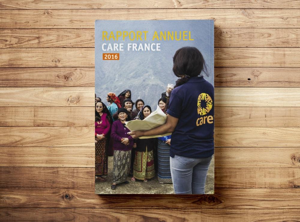 Mise en page rapport d'activités CARE France / Graphiste freelance Paris 14